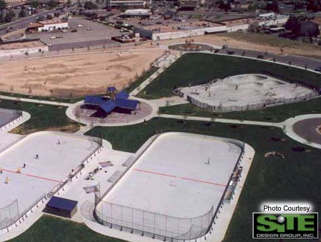 4. The entire Aurora Wheel Park complex. BMX track, Skatepark and Roller Hockey