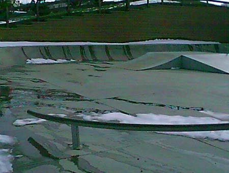 1. Golden Heights Skatepark after the annual April snowstorm