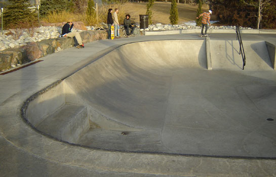 Bowled transitions, a handrail, ledges